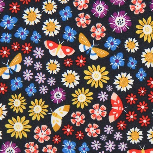 dark blue-grey colorful flower Cloud 9 organic cotton fabric Bohemian Garden