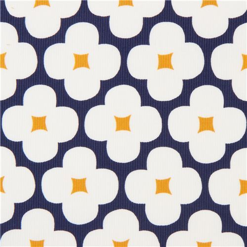 navy blue with flower Cloud 9 organic corduroy fabric
