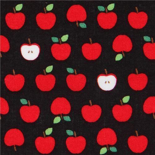 black Robert Kaufman small red apple fruit fabric Sevenberry Mini Prints