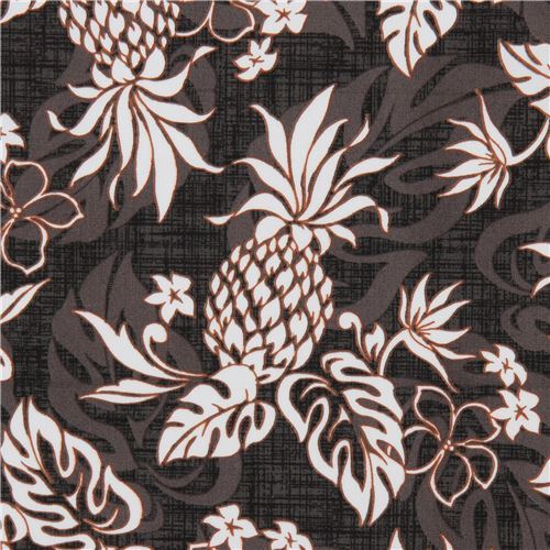 dark brown grey Robert Kaufman fabric pineapple Sevenberry Island Paradise