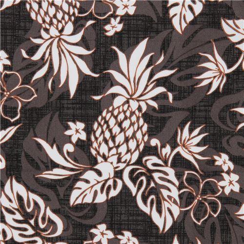 dark brown grey Robert Kaufman fabric pineapple Sevenberry Island Paradise