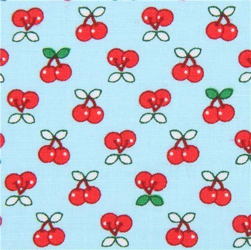 light blue Robert Kaufman small cherry fruit fabric Tiny Happy Lucky