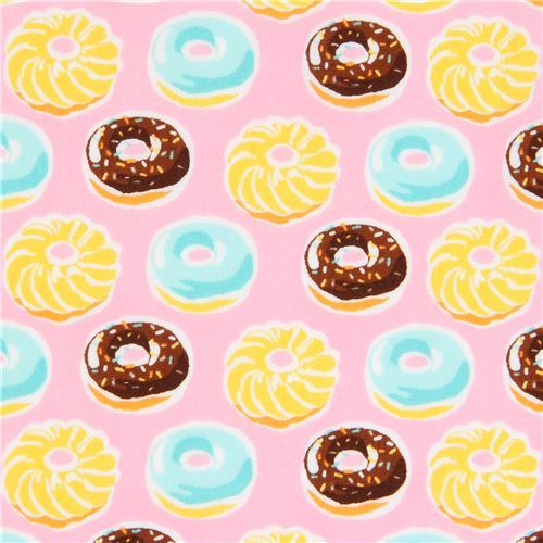 pink Robert Kaufman brown yellow donut fabric Sevenberry Mini Prints