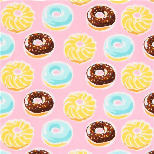 pink Robert Kaufman brown yellow donut fabric Sevenberry Mini Prints