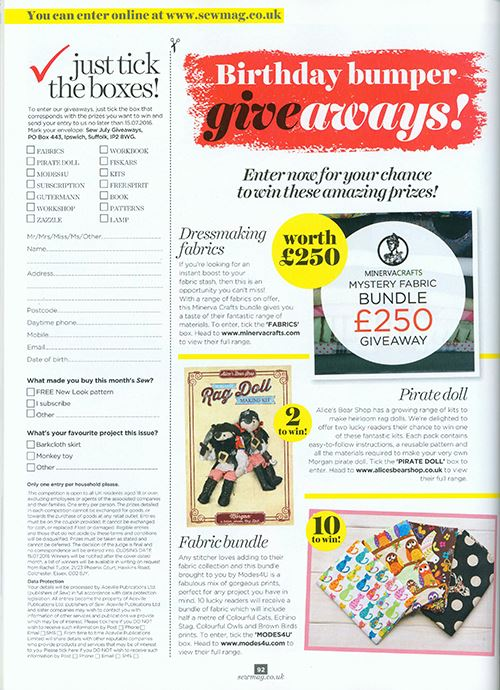Our fabric giveaway in their July edition