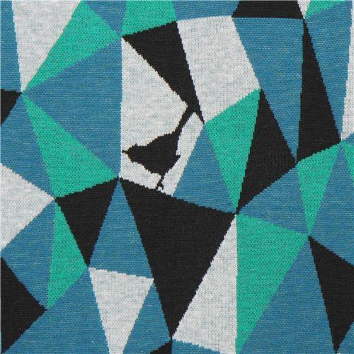 blue black triangle geo bird Jacquard echino fabric