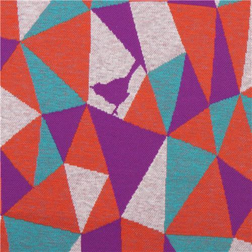 grey orange purple triangle geo bird Jacquard echino fabric