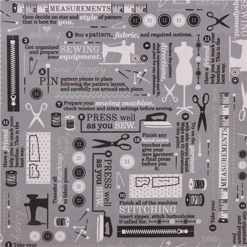 grey Robert Kaufman vintage sewing fabric Sewing Studio