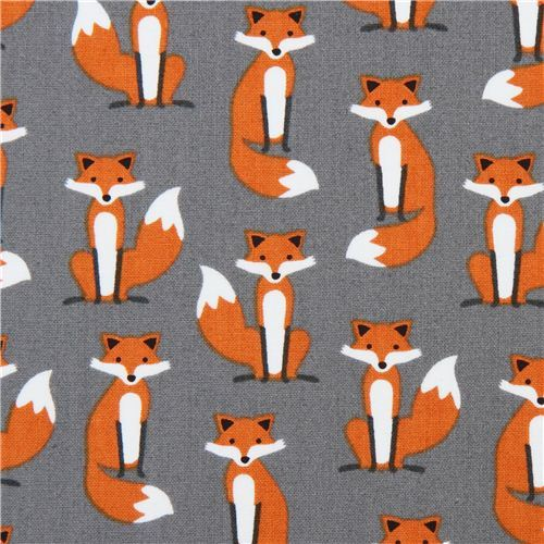 grey fox animal premium laminate fabric 'Fabulous Foxes' by Robert Kaufman
