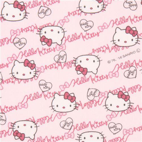 light pink Hello Kitty face text laminate fabric Sanrio Japan