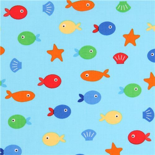 blue Robert Kaufman fabric cute small fish starfish shell Sea and Sun