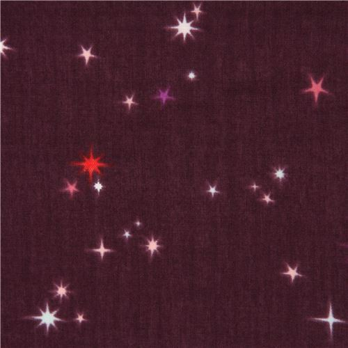 dark purple cute star double gauze fabric by Andover The Hit Parade