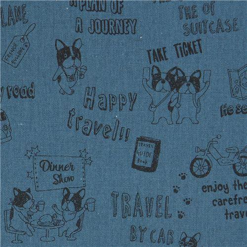 dog animal French Bulldog transport Canvas fabric dark blue by Kokka Japan