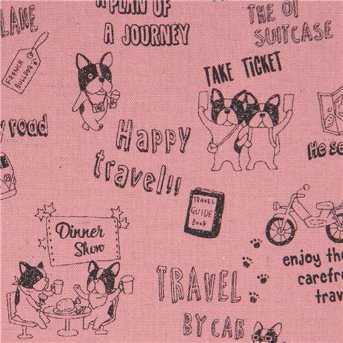 dog animal French Bulldog transport Canvas pink-mauve fabric by Kokka Japan