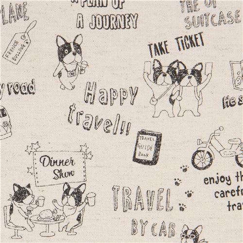 dog animal French Bulldog transport natural color Canvas fabric by Kokka Japan