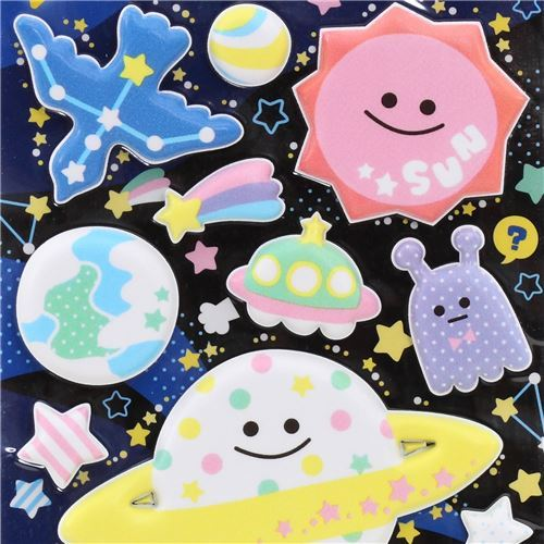 cute planet star rocket puffy 3D sponge stickers from Japan