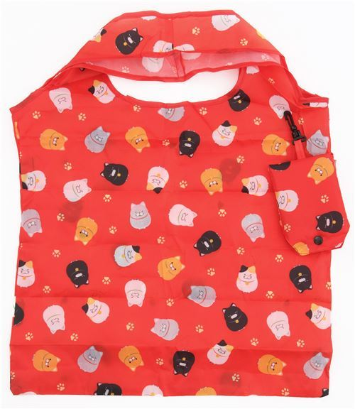 cute red polyester shopping bag with black orange cat from Japan
