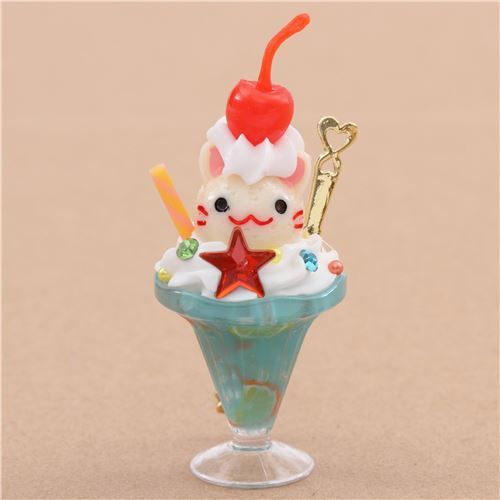 light blue cream color cat face ice cream cherry parfait figure from Japan