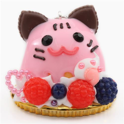 pink sauce cat face fruit dessert figure from Japan
