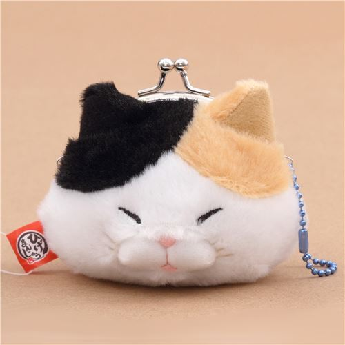 soft funny white light brown black cat plush Manjyu purse wallet from Japan