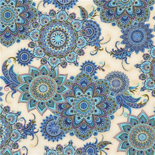 cream fabric colorful big flower gold metallic by Timeless Treasures