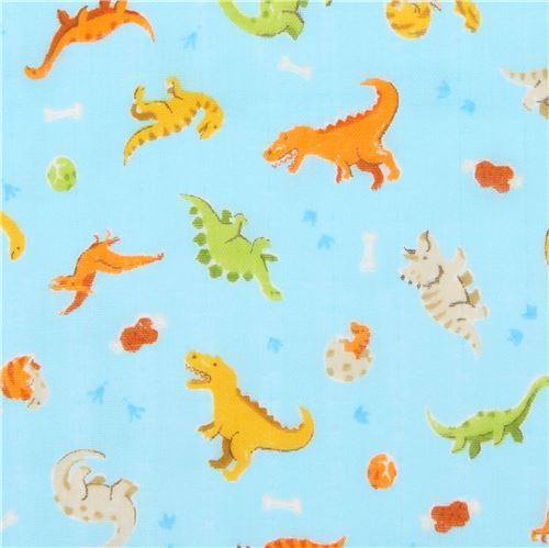 light blue double gauze fabric dinosaur animal from Japan