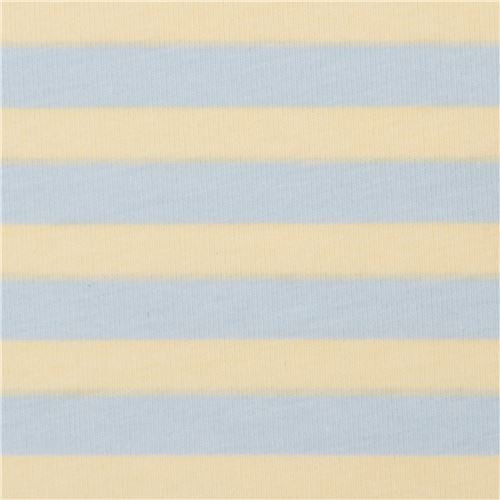 light blue yellow stripe knit fabric Robert Kaufman