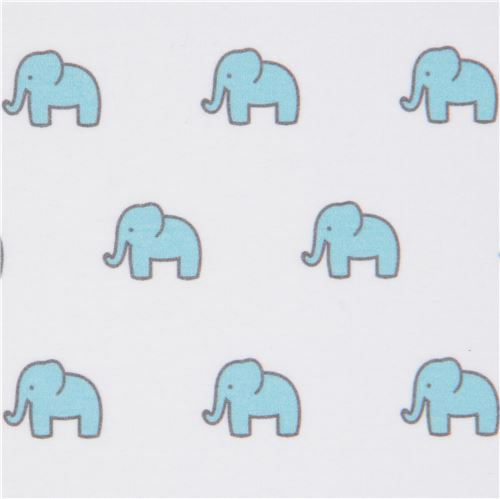 white with small elephant knit fabric Robert Kaufman USA Little Safari