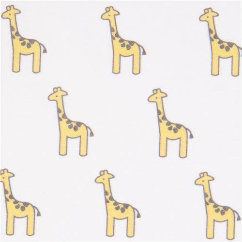 white with small giraffe animal knit fabric Robert Kaufman USA Little Safari