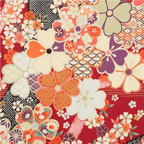 embellished dark red Asia flower fabric by Quilt Gate