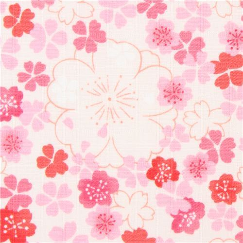 light cream structured cute flower dobby fabric from Japan