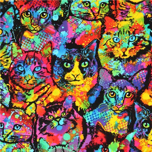 colourful paint cat animal fabric Timeless Treasures USA