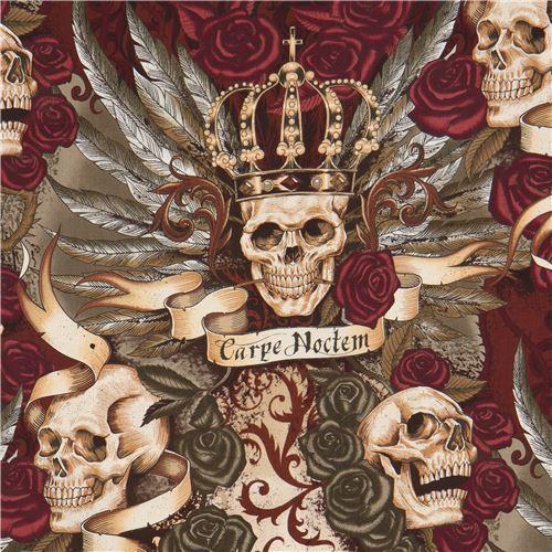 beige dark green Alexander Henry fabric skull rose Royal