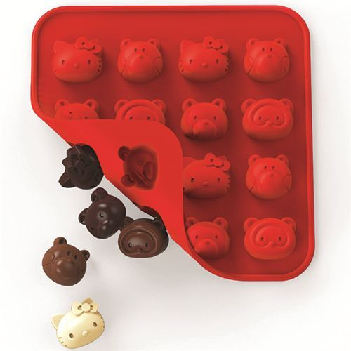 red Hello Kitty and friends silicone chocolate mold