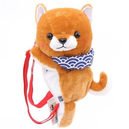 big brown white dog Mameshiba San Kyodai backpack plush from Japan