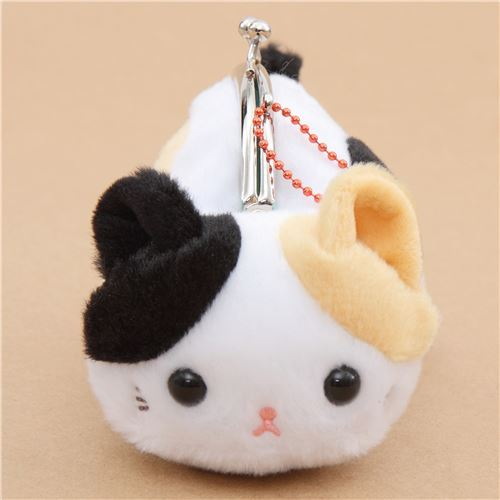 soft cute white black light brown cat plush Tsuchineko purse wallet from Japan