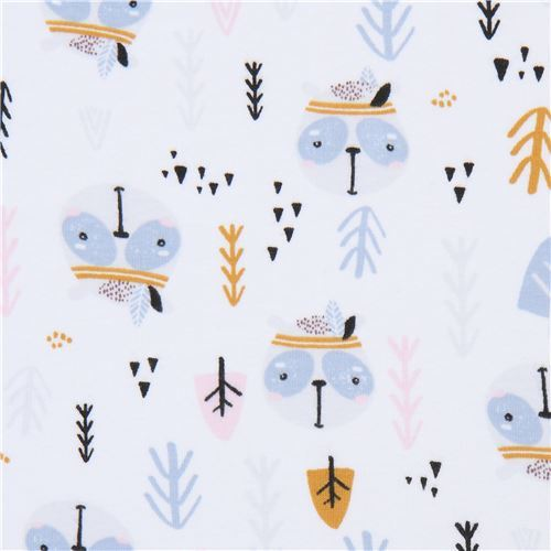 Stof Fabrics knit fabric in white with forest animal