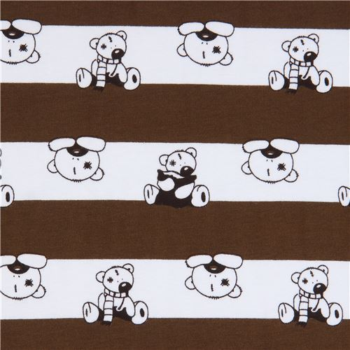brown and white stripe Stof Fabrics knit fabric with bears