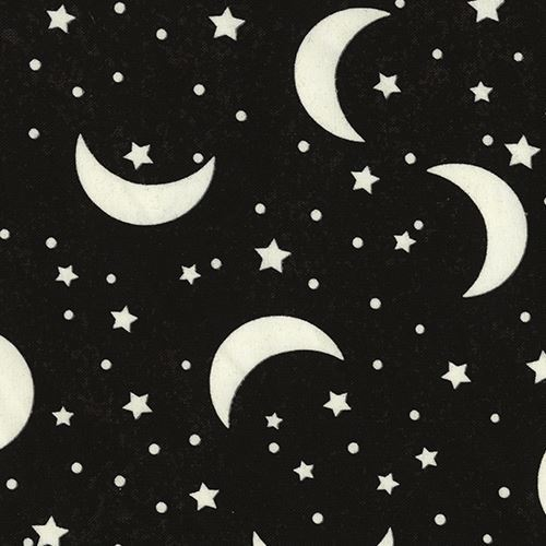 black dark grey fabric with glow in the dark moon and star by Timeless Treasures