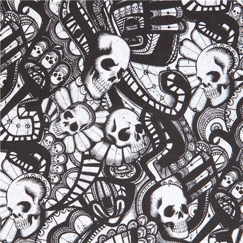 black off-white Alexander Henry fabric skull The Catacombs