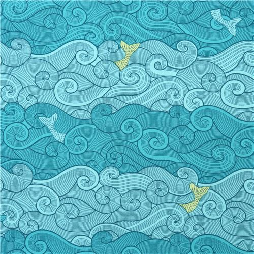 turquoise fabric wave fish by Michael Miller