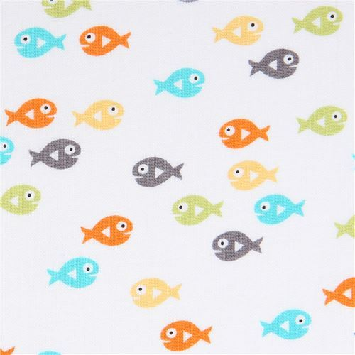 white Michael Miller fabric colorful small fish Guppies