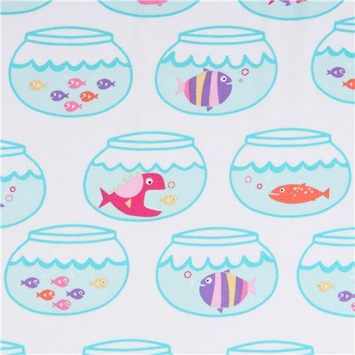 white Michael Miller fabric pink purple fish bowl Swimming in Circles
