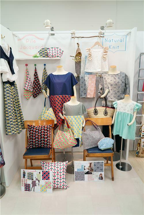 Knit fabrics on display