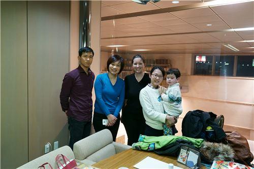 Alan (far left), Sandra (middle) and Mason (far right)